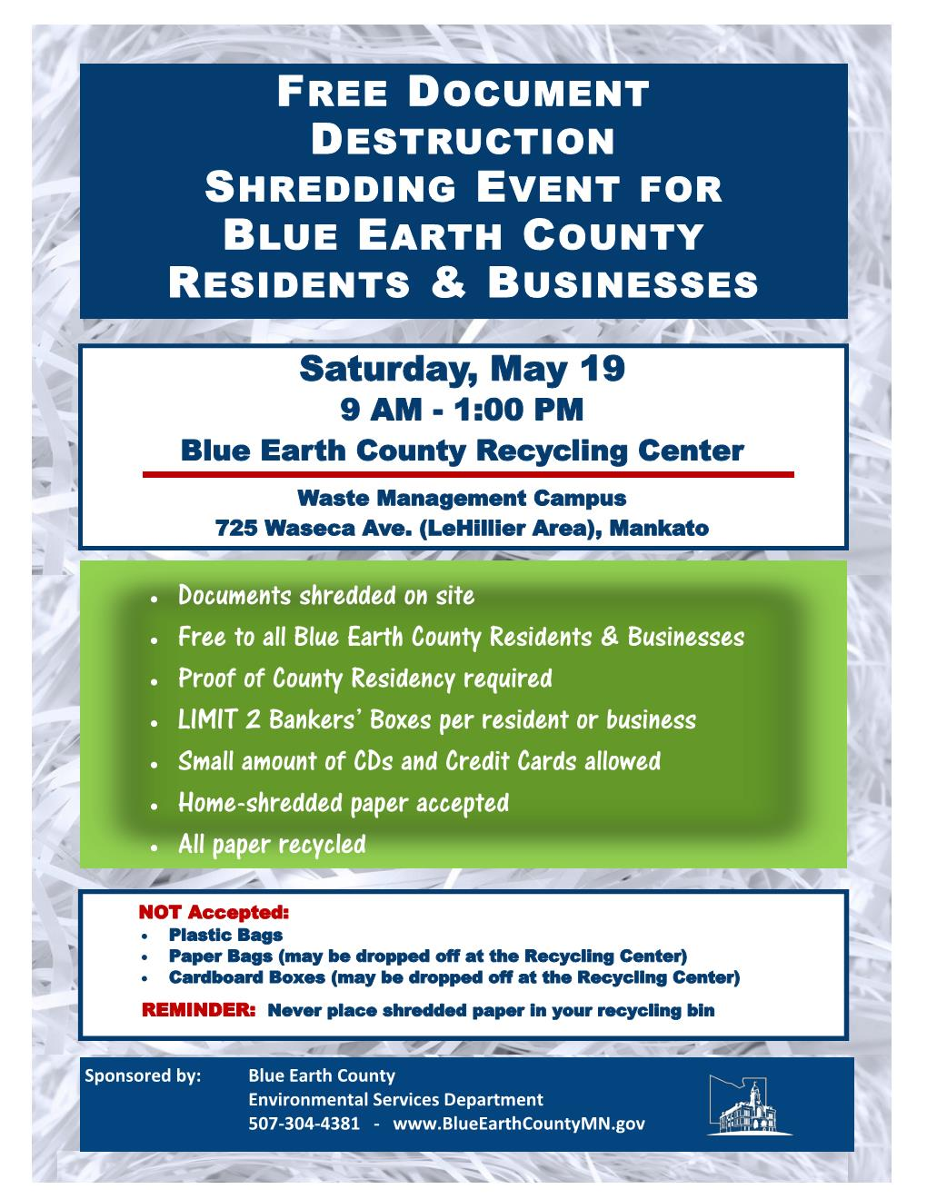 May 19 2018 Shredded Paper Event Flyer