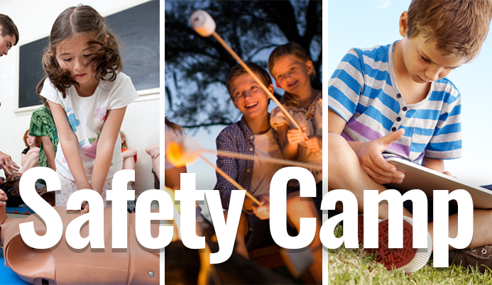 Girl learning CPR, boy and girl around campfire, and boy on iPad &#39Safety Camp&#39