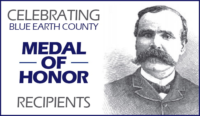 Sketch of man, James Allen, Celebrating Blue Earth County Medal of Honor Recipients