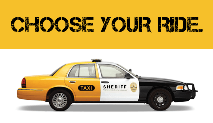 Choose your ride. Taxi turning into a sheriff car.