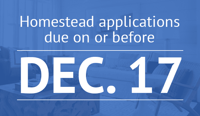 Living room faded out to blue with words &#39homestead applications due on or before Dec. 17