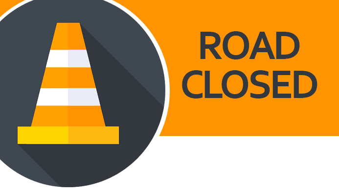 Traffic Cone with text &#39Road Closed&#39