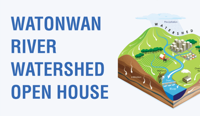 Watonwan River Watershed Open House and a graphic of a watershed