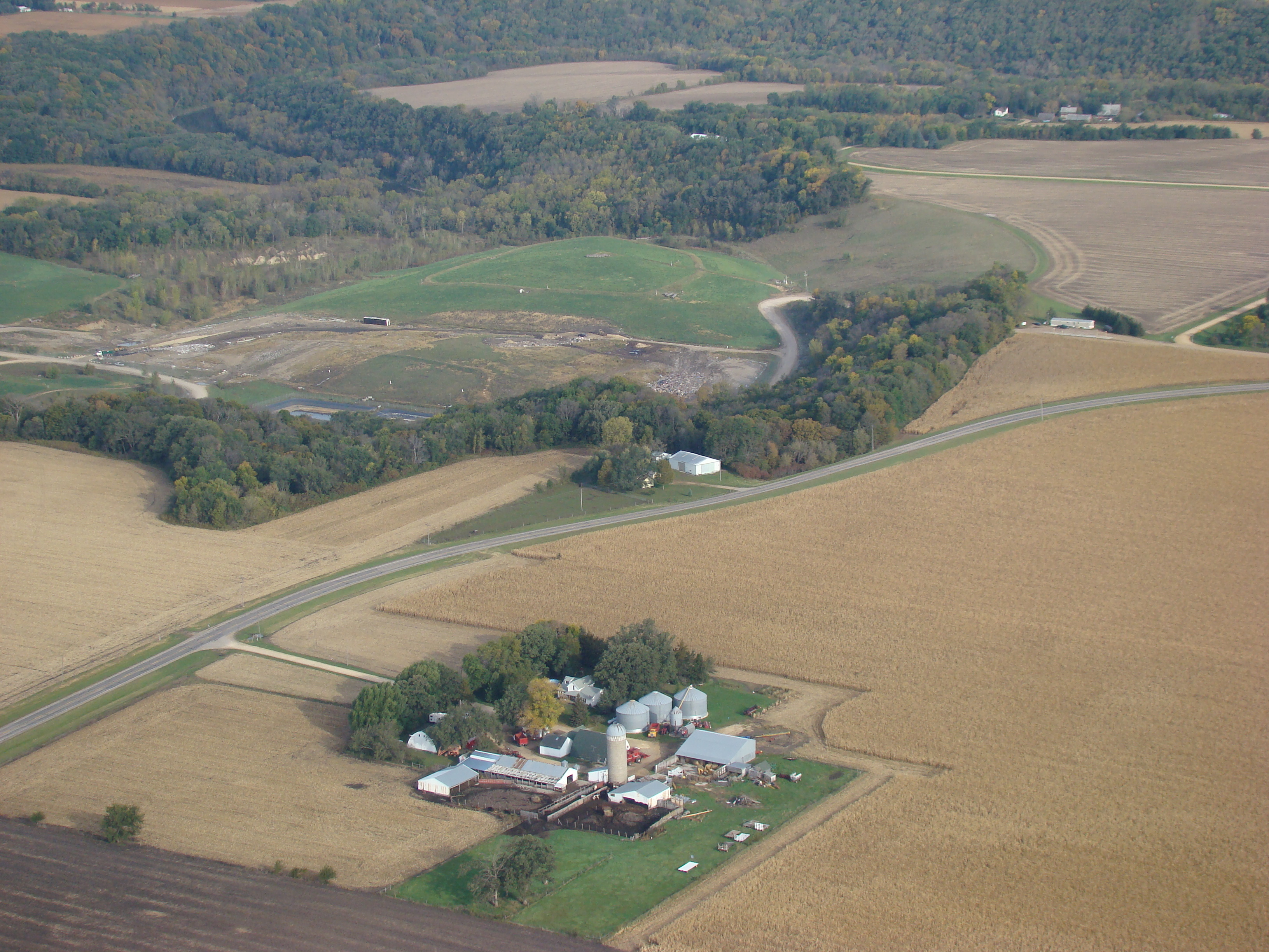 Aerial view of a farm site in Blue Earth County