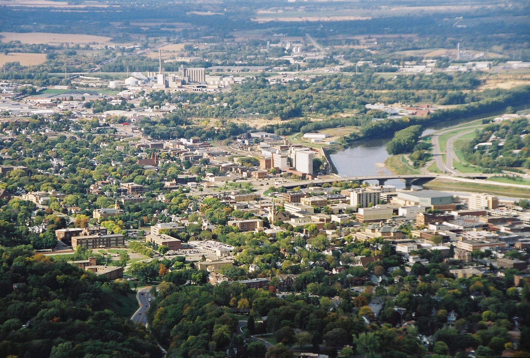 Aerial view of the City of Mankato