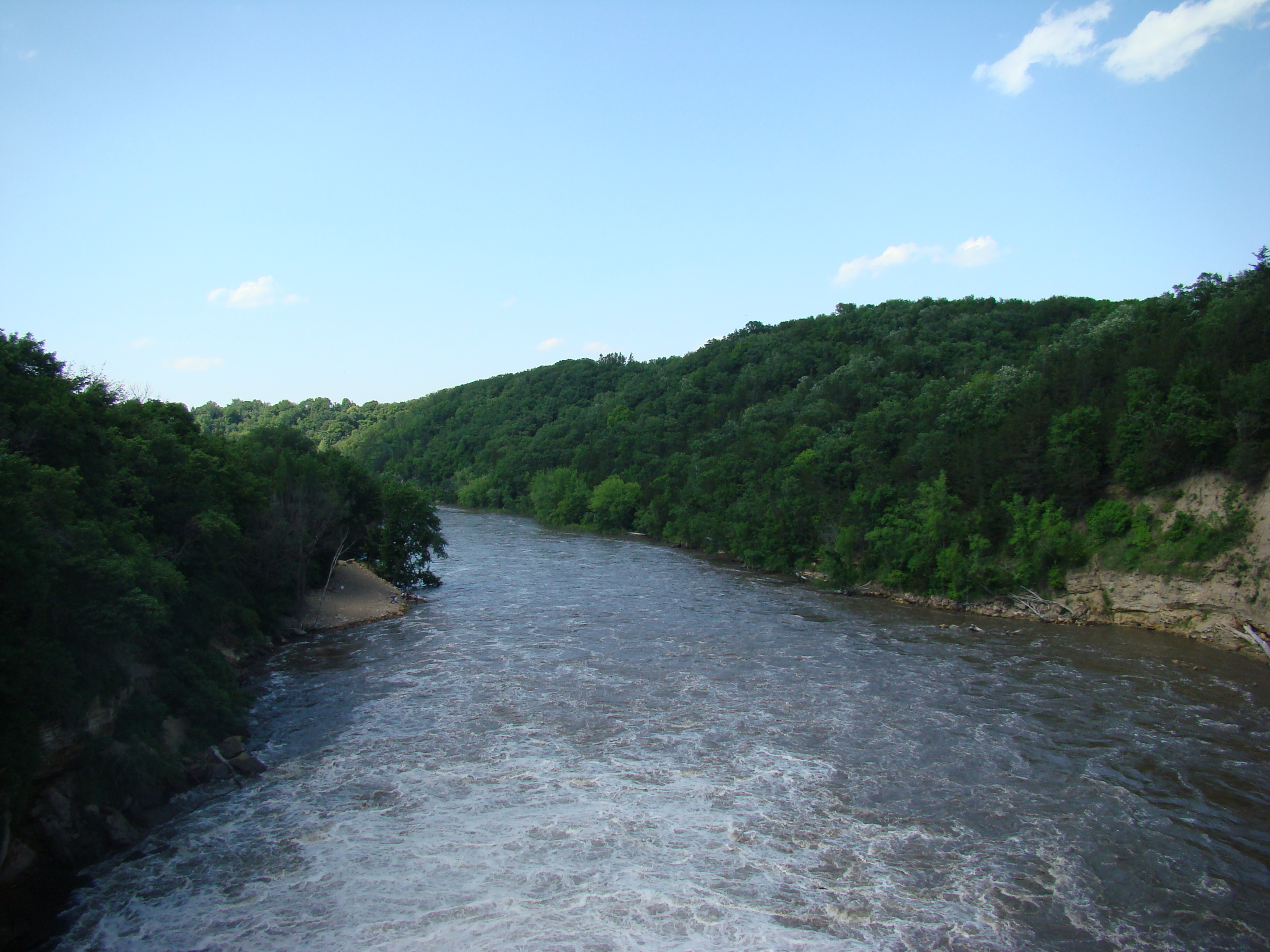 View of the Blue Earth River from on top of the Rapidan Dam.