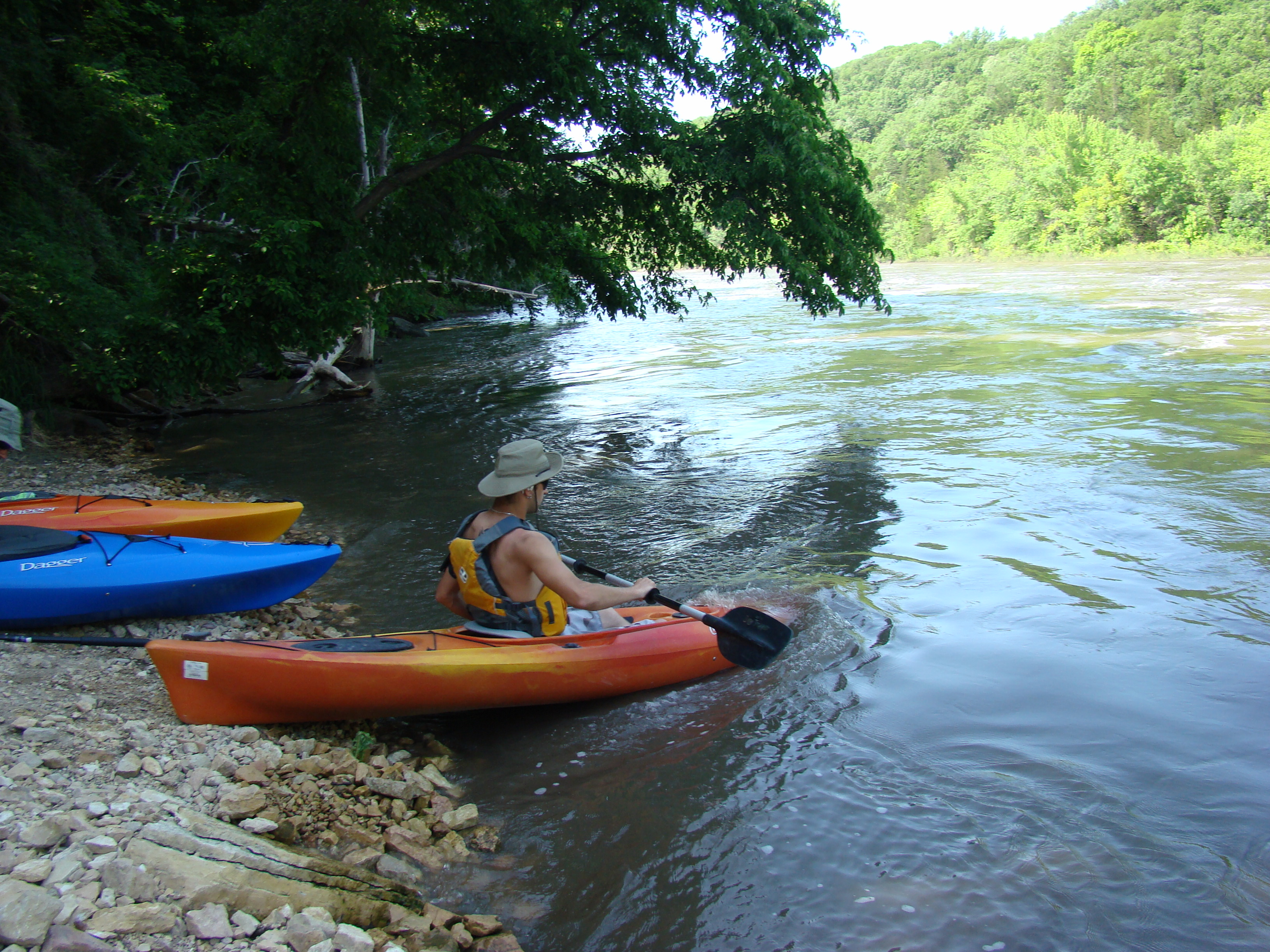 A kayaker launches from the Rapidan Dam Park into the Blue Earth River.