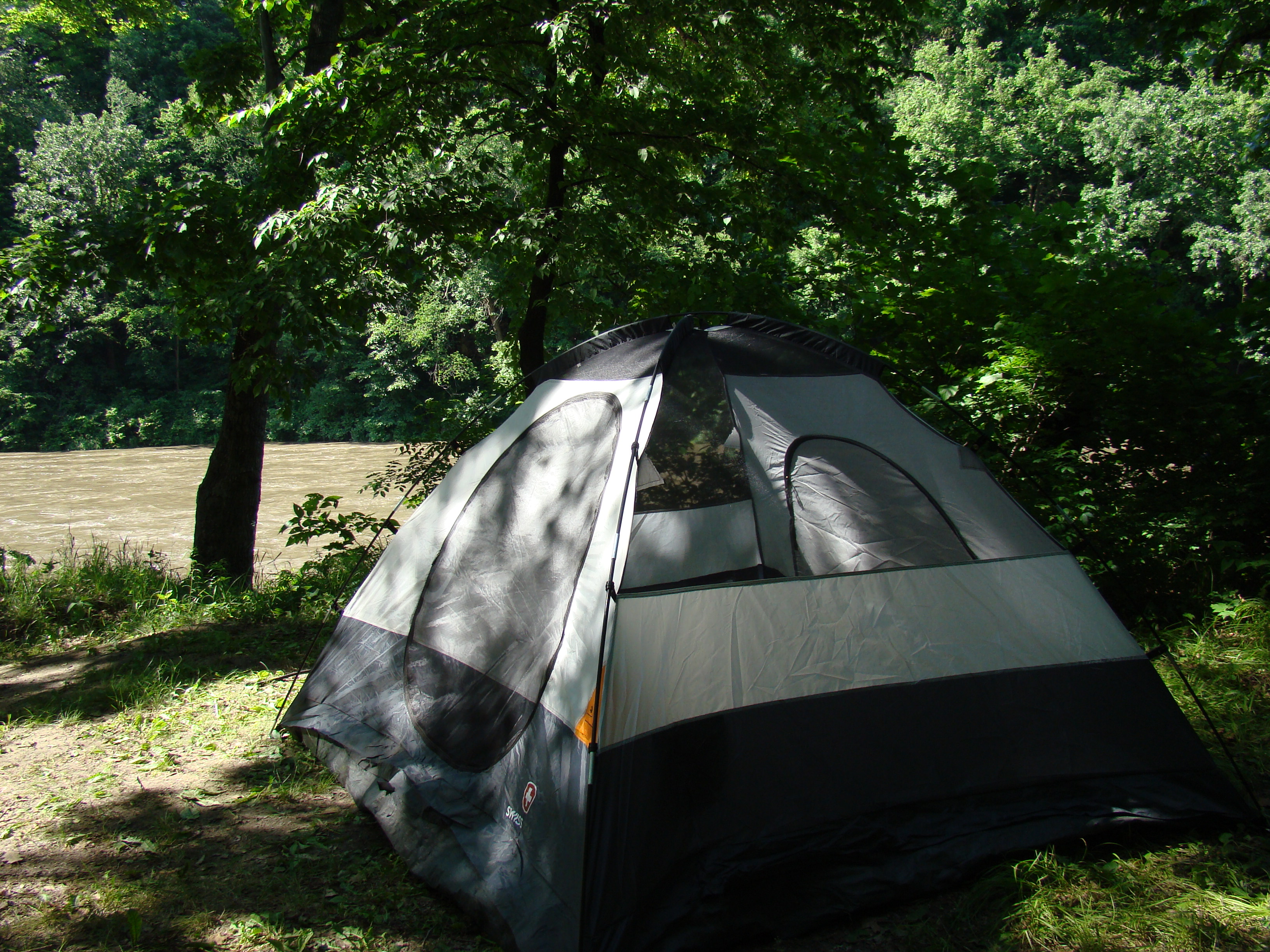 A tent at the Rapidan Dam Campground.