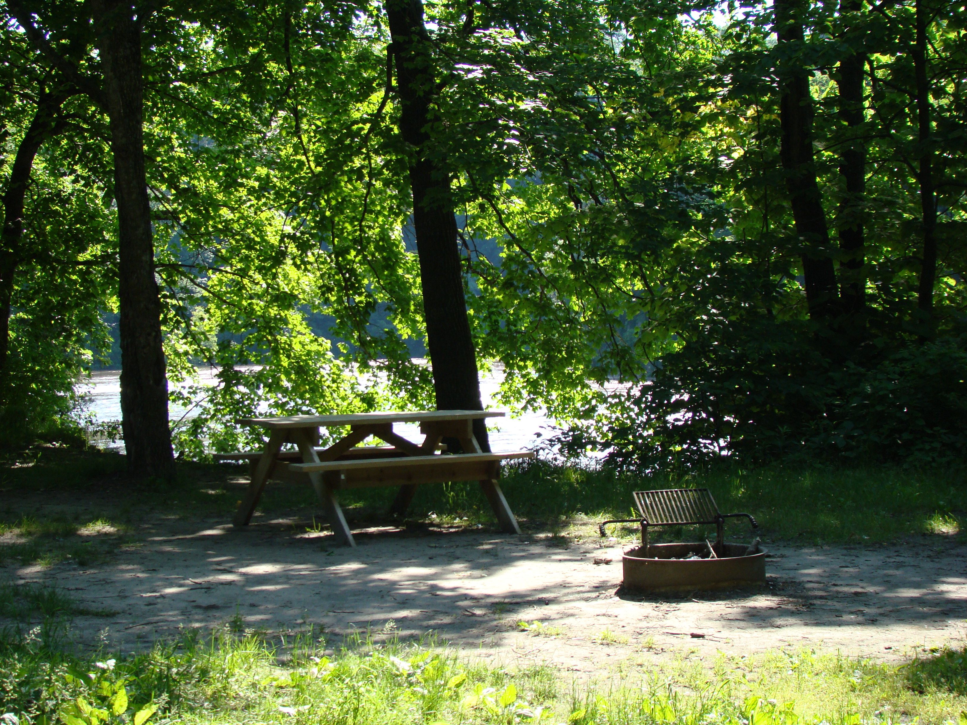 Campsite with picnic table and fire ring along the Blue Earth River at the Rapidan Park & Campground.