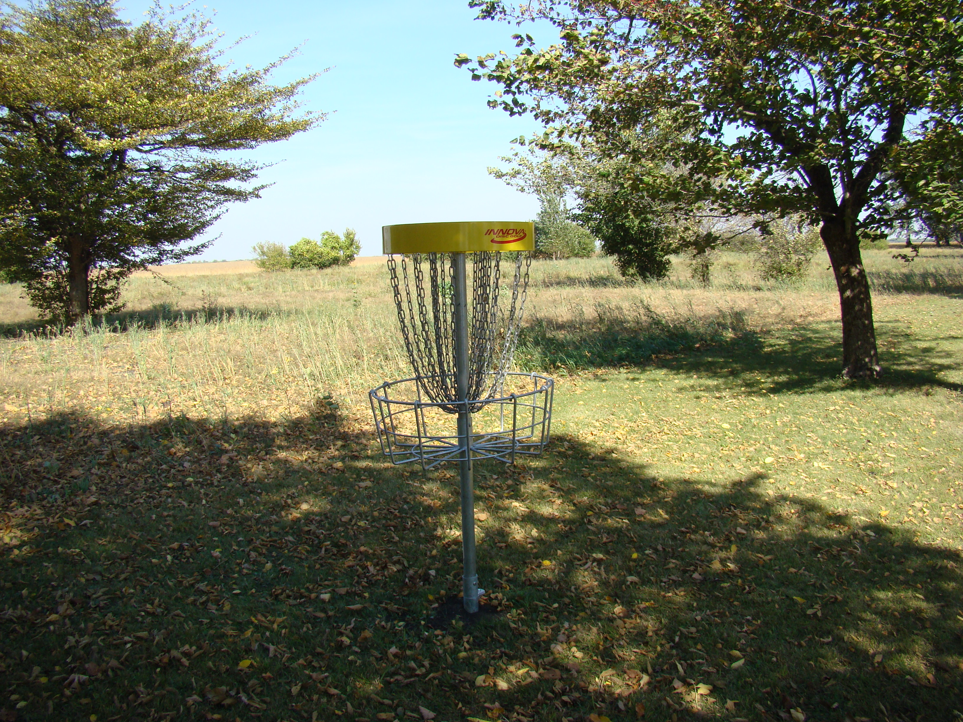 Frisbee golf basket at Daly Park & Campground.