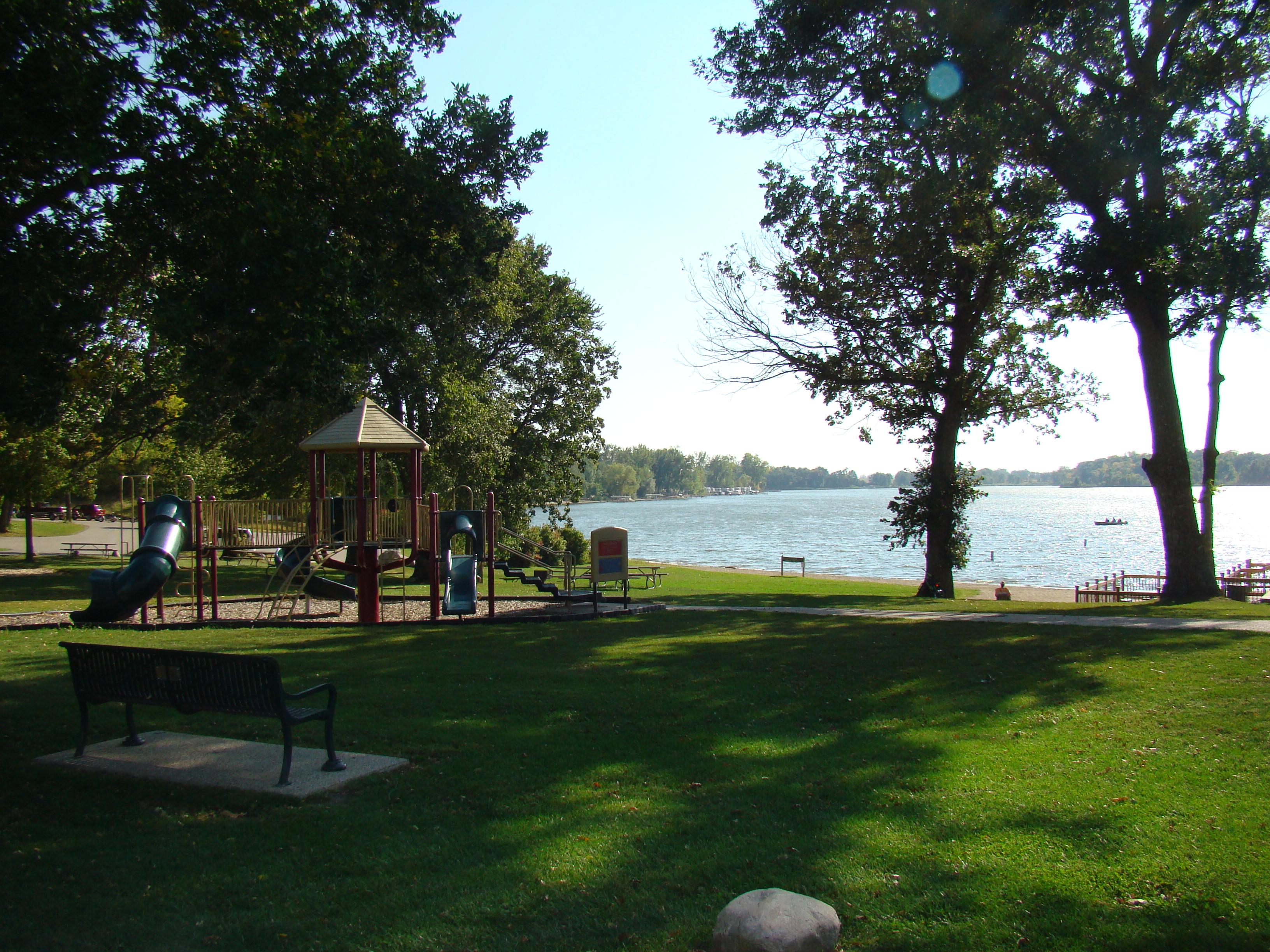 Bray Park playground equipment and beach on Madison Lake.