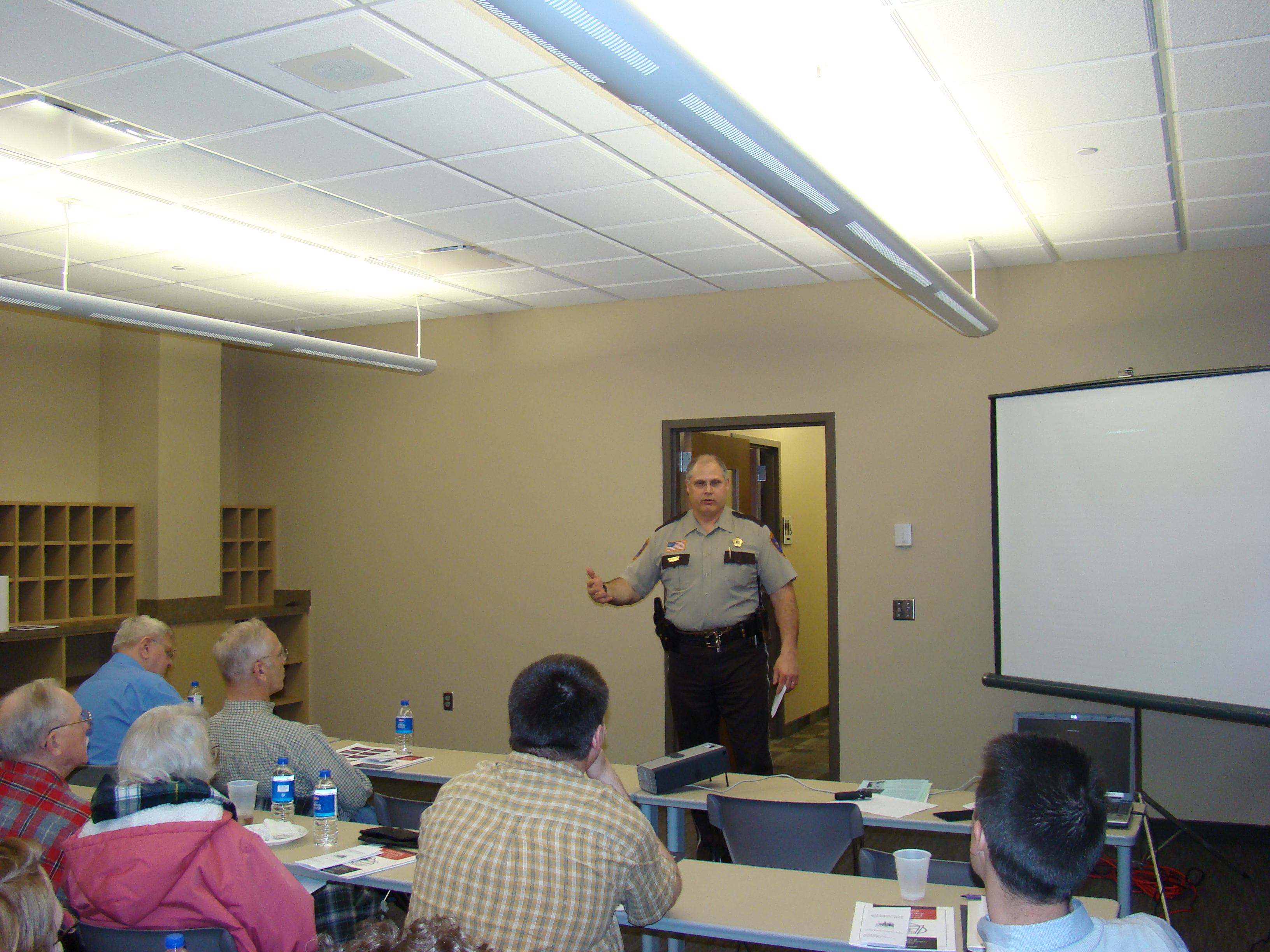 Sheriff Brad Peterson presents to the Citizens Academy group at the Justice Center.