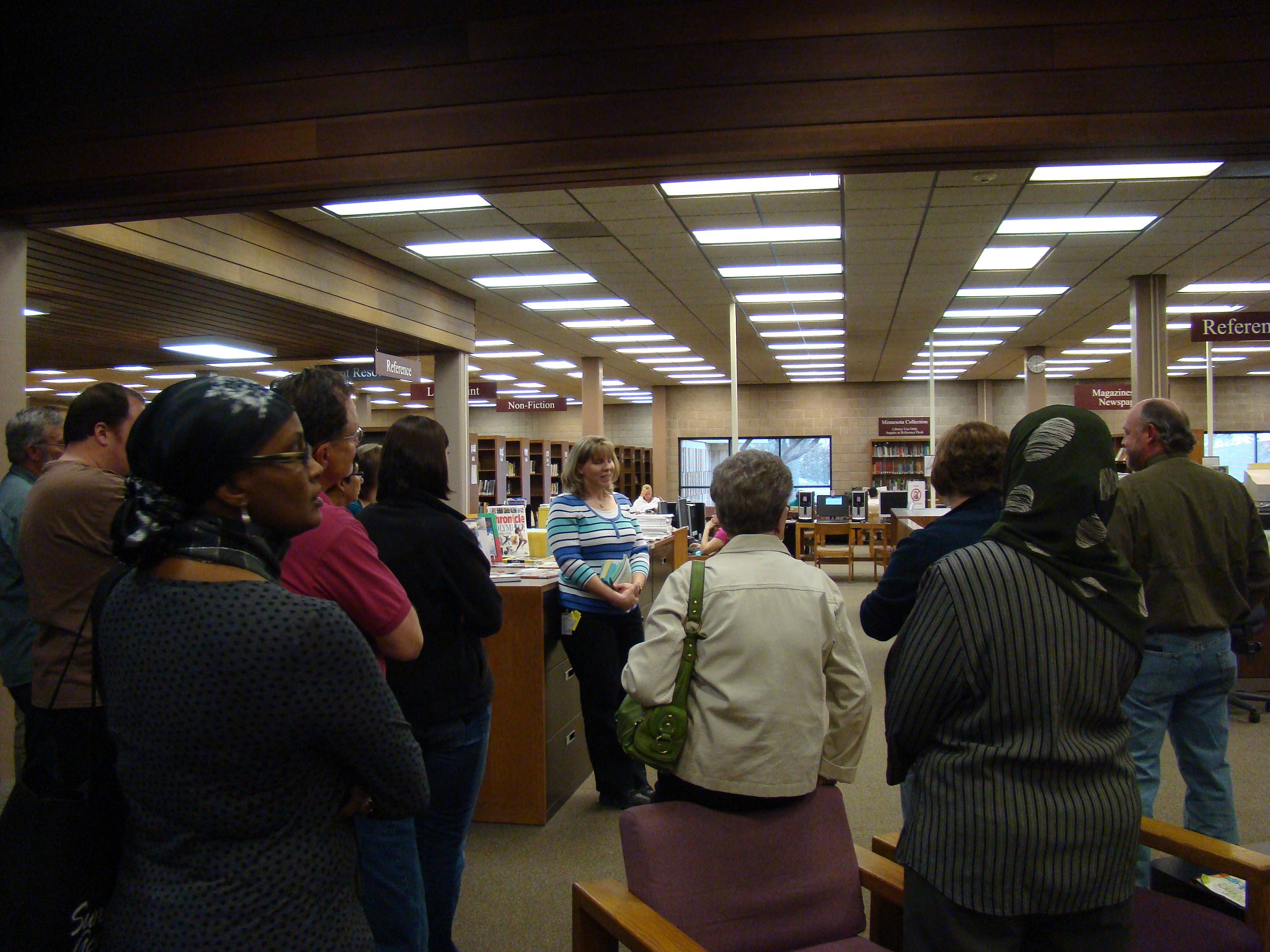 Tour of the Blue Earth County Library in Mankato with Citizens Academy participants.